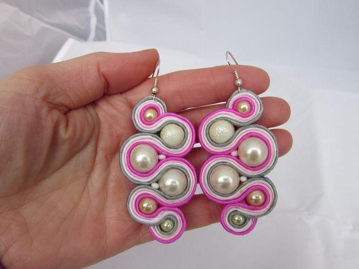 Pearls in pink earrings soutache