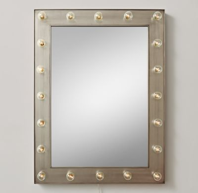 Restoration hardware illuminated rectangular mirror for Restoration hardware round mirror