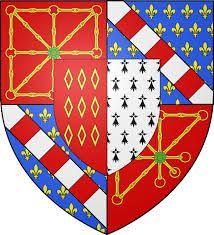 28- Blason de la famille de Rohan-Guéméné, écartelé aux 1 et 4 de gueules aux chaînes d'or posées en orle, en croix et en sautoir, chargées en coeur d'une émeraude au nature qui est de Navarre, en 2 et 3 d'azur semé de fleurs de lys d'or à la bande composée d'argent et de gueules qui est d'Evreux, sur le tout parti en 1 de gueules aux 9 mâcles d'or posées 3,3 et 3 qui est de Rohan; et en 2 d'hermine qui est de Bretagne. - § P. GUEMENE: Henri, prince de Guéméné, est un homme très bien en…