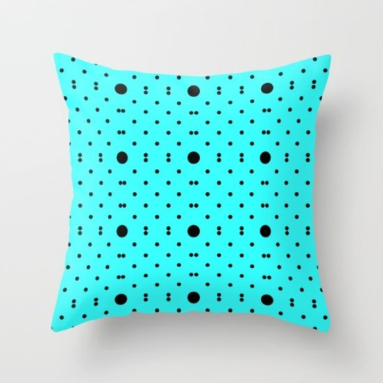 big u0026 small polkas cyanblack throw pillow