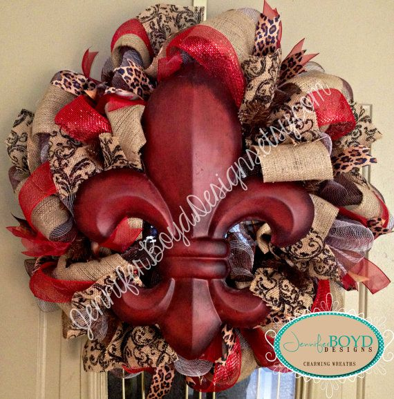 Fleur de Lis deco mesh wreath by Jennifer Boyd Designs.  facebook.com/JenniferBoydDesigns JenniferBoydDesigns.etsy.com