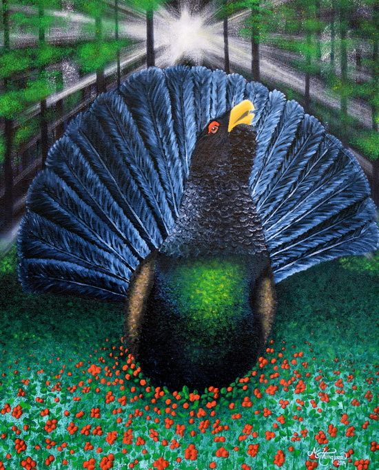 """★ """"ILLUMED CAPERCAILLIE"""" - a piece from the """"Nordic Impressions"""" collection.  FROM $23 - NOW AVAILABLE AT: ★ http://society6.com/ms_thomassen/prints ★   mountains/ nature/ wildlife/ abstract/ blue/ Nordic/ Scandinavian/ interior/ design/art/ oil painting/ illustration/ frame @MS_THOMASSEN"""