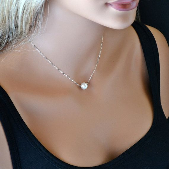 Single Pearl Necklace, Bridesmaid Gift, Single Pearl Necklace Silver, Swarovski Crystal Pearl Necklace, Everyday Jewelry