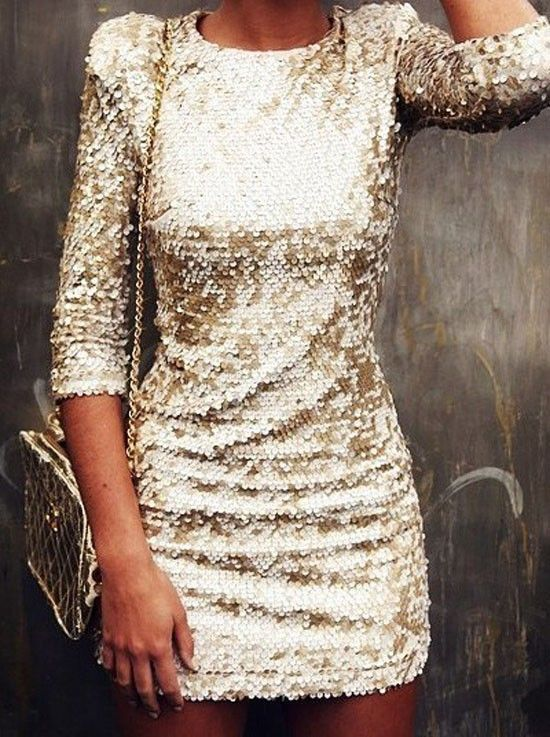 Gold sequin dress.