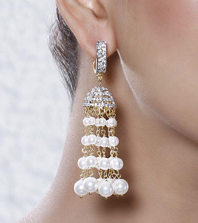 Pearl Embellished Jhumki Earrings