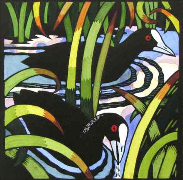 Coots by Kit Hiller Edition of 30 medium : hand coloured lino cut dimensions : 33 x 33 year : 2010