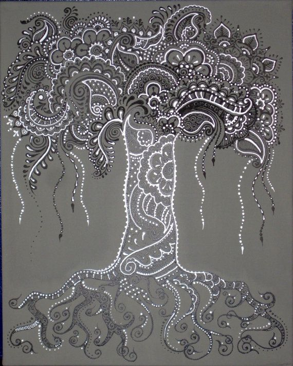 Silver, Paisley, Tree of Life henna-painted canvas