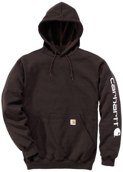 Carhartt Midweight Hooded Sweatshirt / hættetrøje med logo, mørk brun (K288-DKB) - Overdele - BILLIG-ARBEJDSTØJ.DK