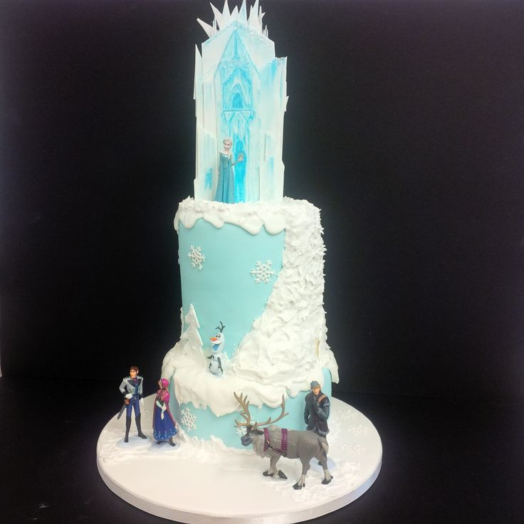 Disney Frozen cake-- shorter top tier, ice castle on top ?  how to do that?