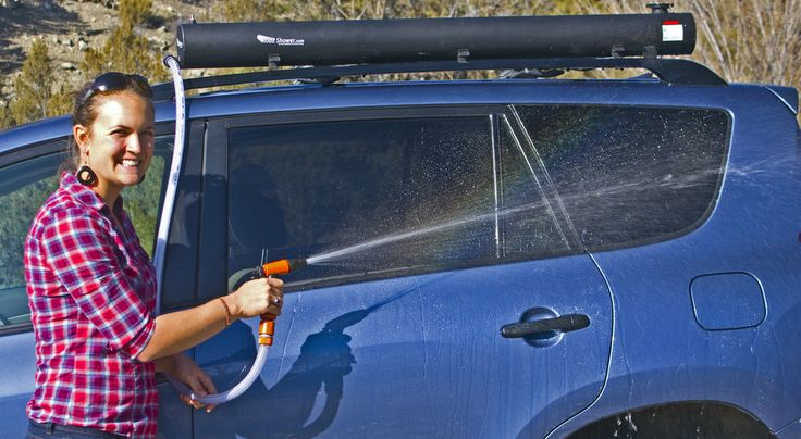 Road Shower Water Tank Clips To Your Roof Rack And Heats