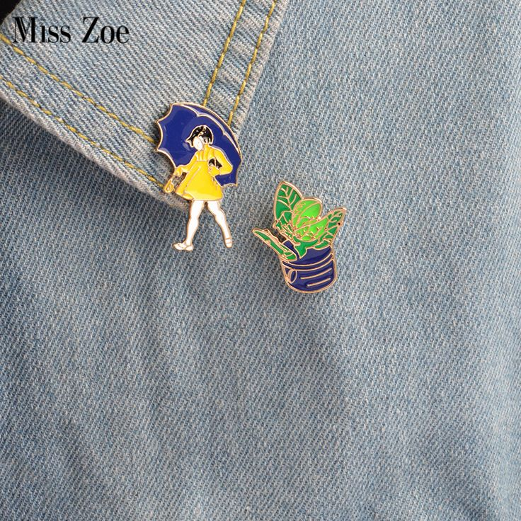 Miss Zoe 2pcs/set Cartoon Girl in the rain Potted Plants Brooch Denim Jacket Pin Buckle Shirt Badge Fashion Gift for Girls #Affiliate
