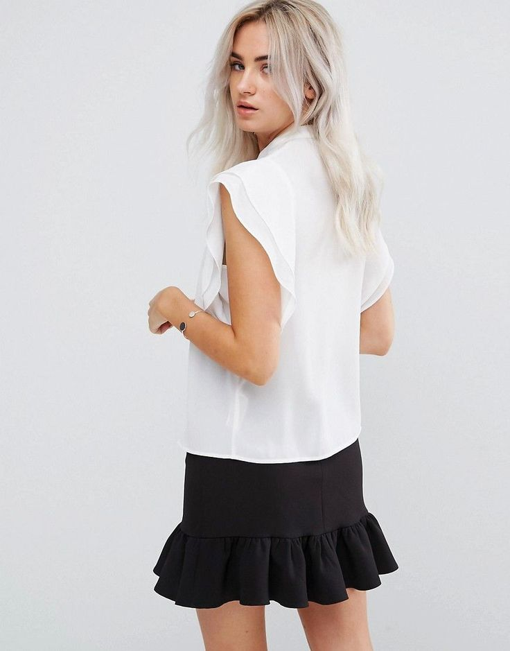ASOS PETITE Blouse with Frill Shoulder - White