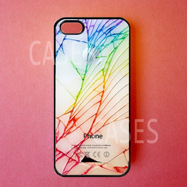 Iphone 5 Cases - Iphone 5 Covers - Colorful Cracked Screen - Rubber Iphone Cases - Cute Stylish Unique Designer Protective Cases for Iphone. $16.99, via Etsy.