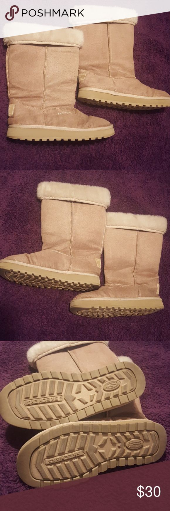 Skechers winter boots 9 These have been worn several times and are like Uggs. They can be worn up or folded down to expose the faux fur. They're light brown/dark cream colored faux suede. Foot bed is in perfect condition. Fur goes down about 2in inside the boots. Perfect addition to your fall and winter wardrobe! Smoke free and pet friendly home. Bundle to save on shipping. Happy poshing! Skechers Shoes Winter & Rain Boots