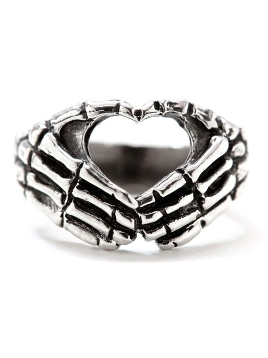 """""""Hand Heart"""" Ring by Blue Bayer Design (Sterling Silver) #inkedshop #ring #skeleton"""