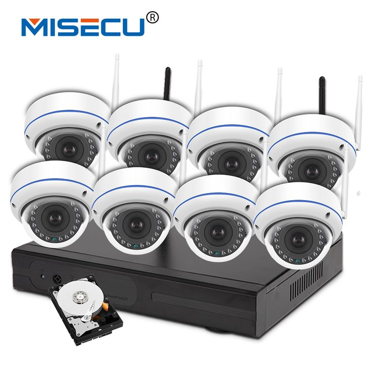 MISECU 720P 8 Channel Wifi VGA/HDMI plug&play Vandalproof night vision 4TB HDD Wireless nvr Eseenet APP WIFI IP Security system