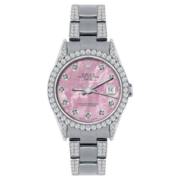 Pre-owned Rolex Date Stainless Steel Pink MOP & 4.5ct Diamond 34mm... ($5,699) ❤ liked on Polyvore featuring jewelry, watches, preowned watches, fine jewelry, stainless steel jewelry, holiday watches and diamond jewelry