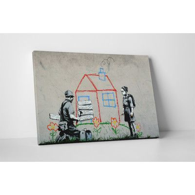 """PingoWorld """"Boarded Up"""" by Banksy Painting Print on Wrapped Canvas Size: 20"""" H x 30"""" W x 0.69"""" D"""