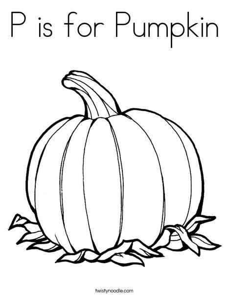 P is for Pumpkin Coloring Page