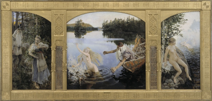 Painting by Akseli Gallen-Kallela, depicting a scene from Kalevala, a Finnish epic poem. Aino was Joukahainen's sister who was promised to the old and wise Väinämöinen in marriage after Joukahainen lost a magic singing match against Väinämöinen. Aino instead decides to drown herself.