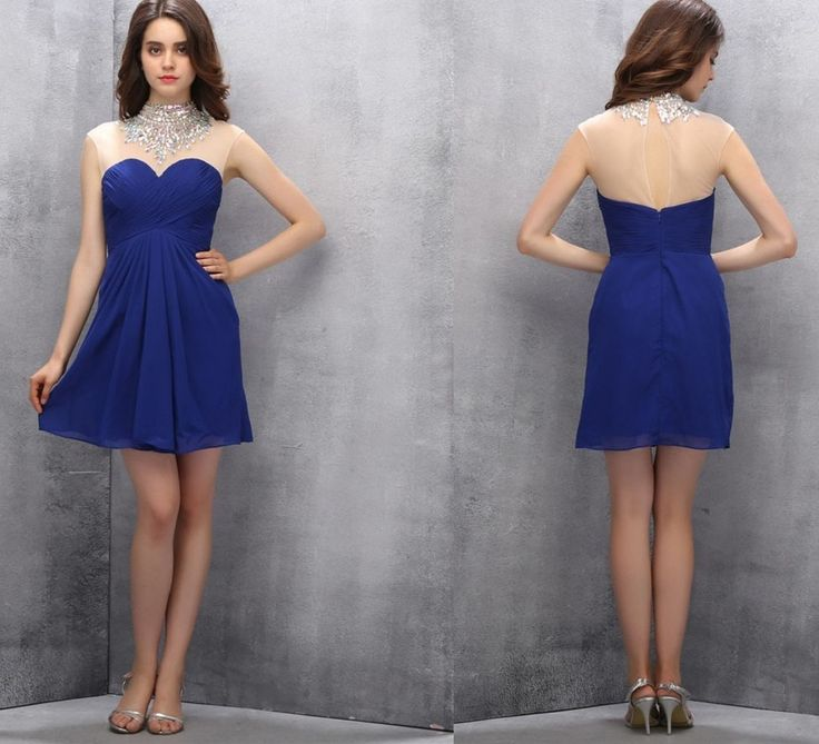 Short Homecoming Dresses,A-line Homecoming Dresses,Royal Blue Homecoming Dresses,Beading Prom Gown,High Neck Prom Dresses,Sweet  Dress