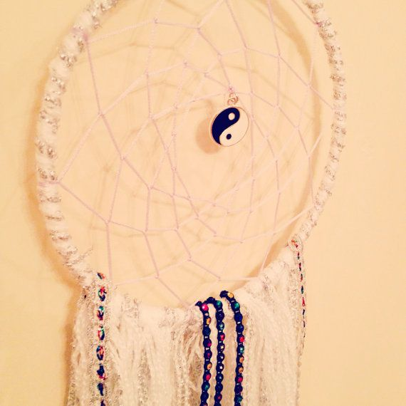 Yin and Yang Crochet Dreamcatcher // Soft grunge edgy bedroom dreamcatcher with lace and ribbon