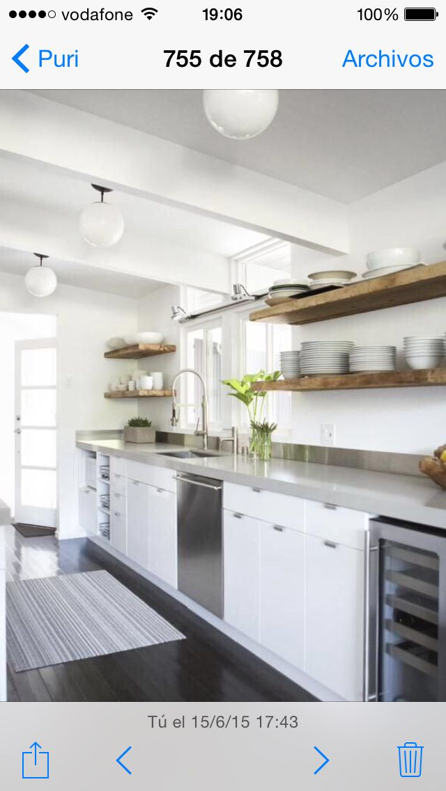 23 best galley kitchens images on pinterest cabinets - Cocina blanca encimera madera ...