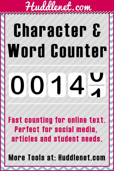 Free Online Word and Character Counter - Fast, easy word and character counting. Ideal for twitter, SMS messages, essays, posts and many other applications. | #BlogResources #Words #Free | Huddlenet.com