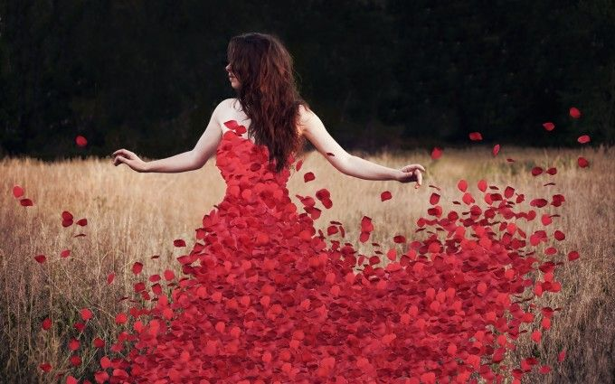 Red rose petals dress with girl Wallpaper