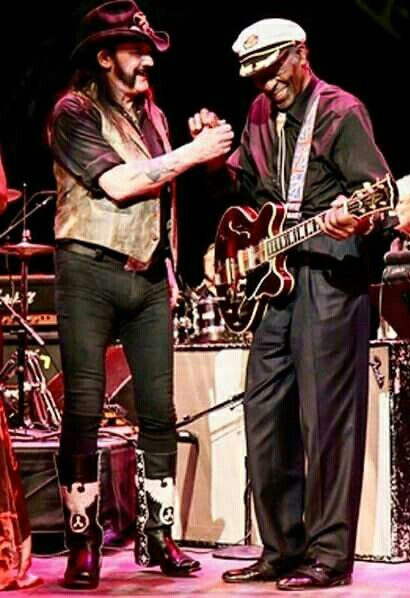 """Ian Fraser Kilmister """"Lemmy"""" and Charles Edward Anderson Berry or Chuck Berry. Two rock and roll legents first class."""
