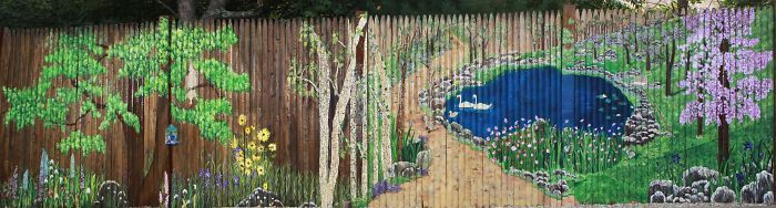 Full View Of My 40 Foot Stockade Fence Mural