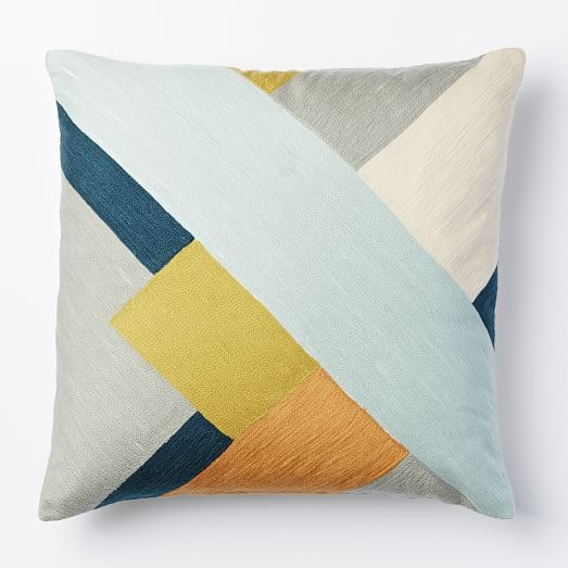 "Crewel Modern Blocks Pillow Cover, 20""x20"", Pale Harbor"