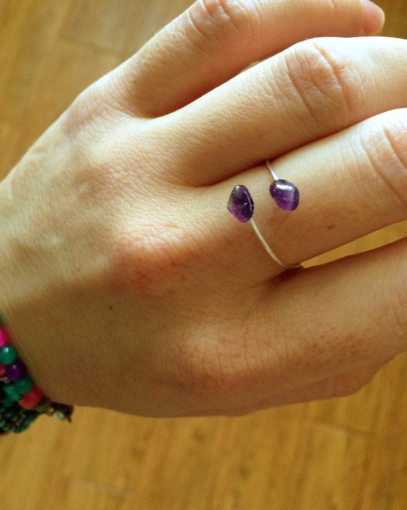 Amethyst Ring February Stone Raw Amethyst Ring by DanusHandmade