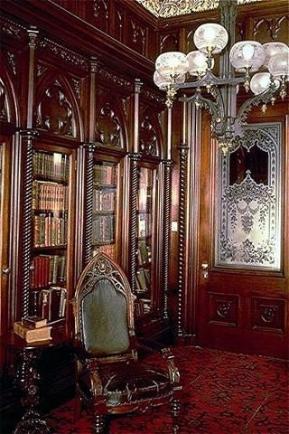 Victoria Mansion Ruggles Morse's  Library, Portland Maine  The room has a gothic…