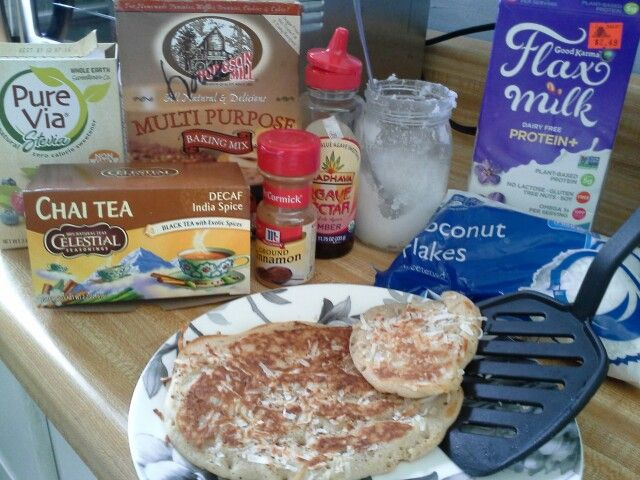 Toasted Coconut Chai pancakes! Gluten free invention,  amazing!!