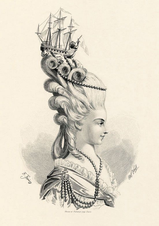 "The rather ostentatious ""Frégate de Junon"" hairstyle, as sported by Marie Antoinette. © Fiell Image Archive, 2011  There is no hair more iconic, perhaps, than Marie-Antoinette's elaborately curled and beribboned wigs. Her daringly avant-garde style and her love of fashion took Versailles by storm, and the ladies of court were constantly trying to emulate the Queen's frequently changing coiffure."