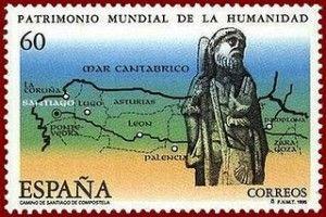 Sello con motivos del Camino de Santiago emitido en los noventa