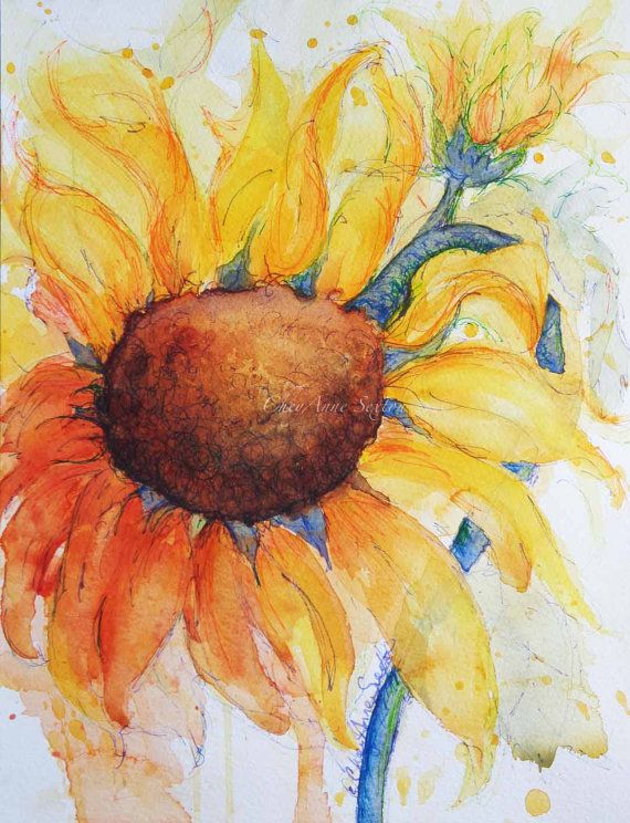Sunflower gone wild ORIGINAL watercolor and ink by CheyAnneSexton,