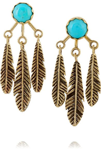 """Pamela Love's handmade 'Frida' earrings are """"inspired by the traditional motifs of Mexican and Southwest culture."""" They are crafted with cool feather-shaped backings and turquoise cabochons. Highlight this eclectic pair with a loose chignon or side-swept hair."""