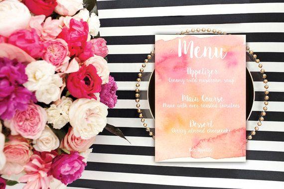 Calligraphy Watercolor Menu Card Printable Menu Pink by Blushly