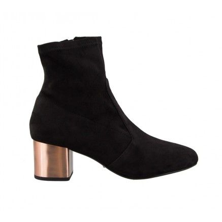 LANCE Black Stretch And Copper Tony Bianco Ankle Boots