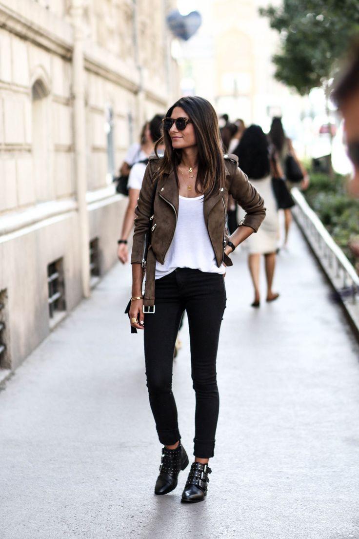 JUNESIXTYFIVE - blog mode idée tenue jean noir tendance automne 2016 perfecto daim marron zara