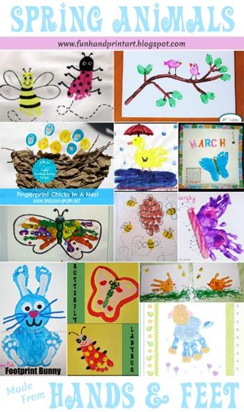 Spring Animals made from Handprints & Footprints - Fun Handprint Art