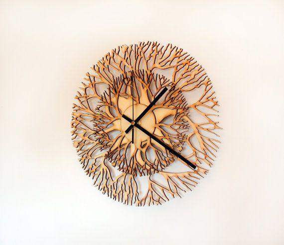 Tree shaped wooden laser cut wall clock by TikTakWorkshop on Etsy, $70.00