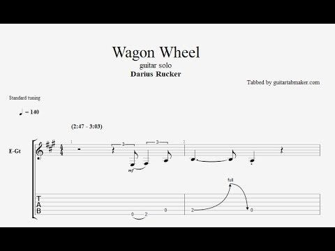 Darius Rucker - Wagon Wheel guitar solo TAB guitar pro 6 - guitar pro 5 - PDF