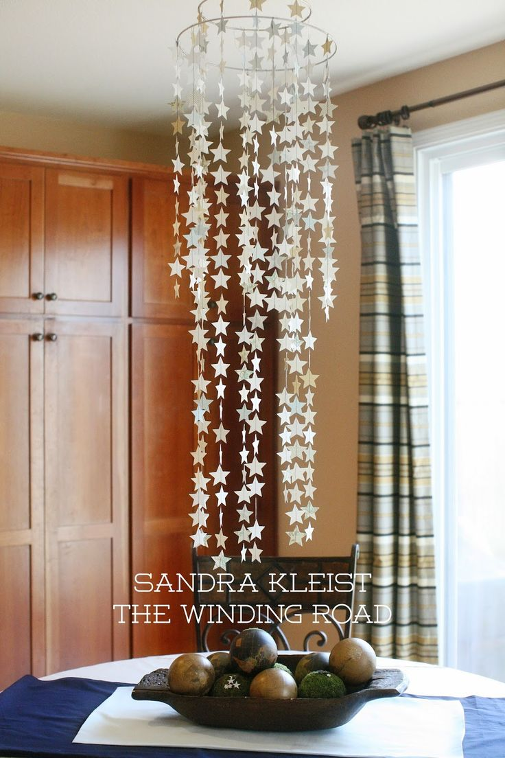 @jessicatar, I want to hang strings of these stars from the ceiling in my hallway...and maybe from the front windows...it is interesting that the stars are sewed to the strings...  from:The Winding Road: I Love You to the Stars!
