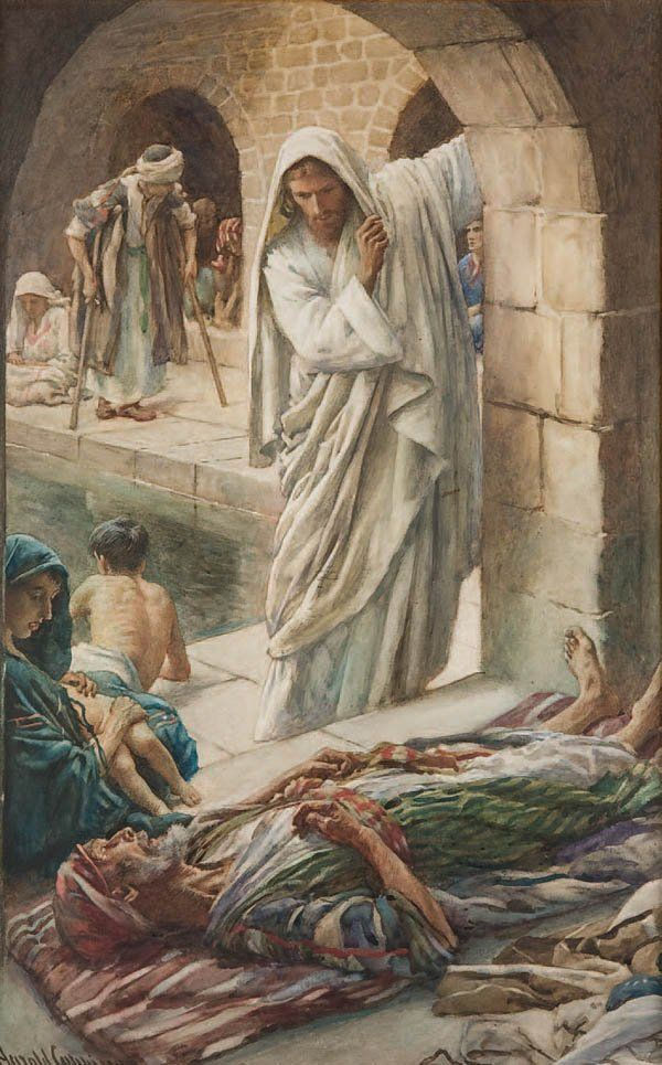 Harold Copping | A Man Healed at the Pool of Bethesda... John 5:5-8 and there was a certain man there being in ailment thirty and eight years, him Jesus having seen lying, and having known that he is already a long time, he saith to him,...