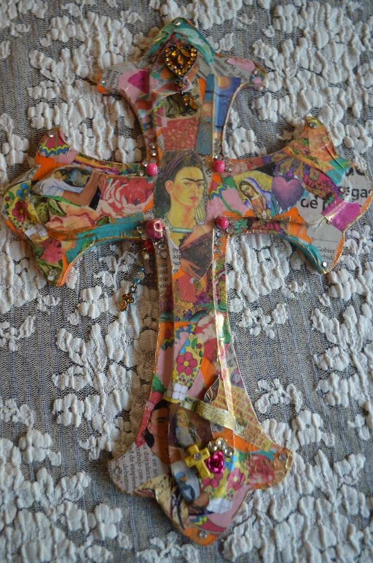 Frida Kahlo -  Mexican Art - Milagro Crucifix. $16.95, via Etsy.