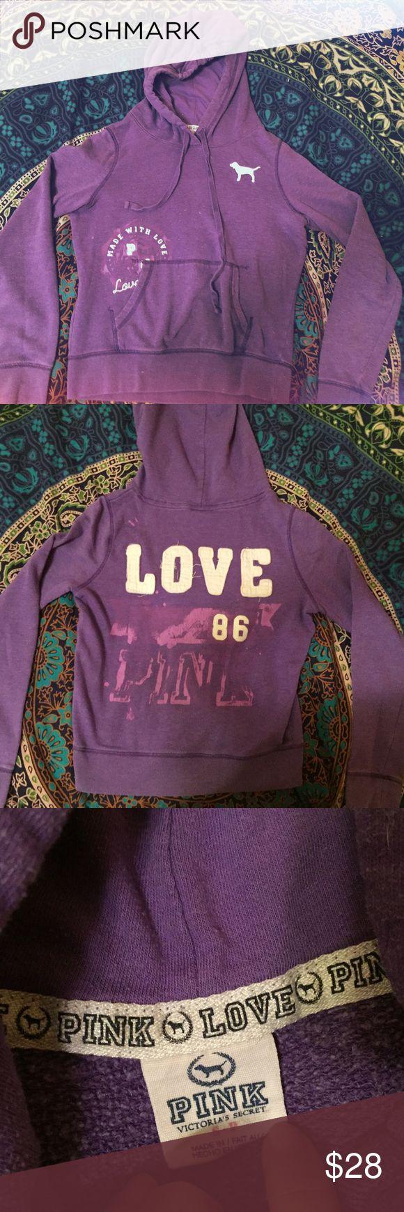 VS Pink Purple Hoodie Victoria's Secret Pink purple hoodie. Well loved but in wearable condition. Extra cozy! ⚠️FITS LIKE AN XS⚠️ One of my favorite sweatshirts ever. Enjoy!! PINK Victoria's Secret Tops Sweatshirts & Hoodies