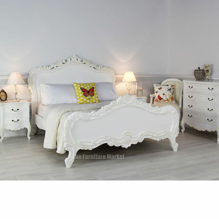 Charming Chateau Beds #7: French Chateau White 6ft Super King Size Painted Heavy Carved Bed